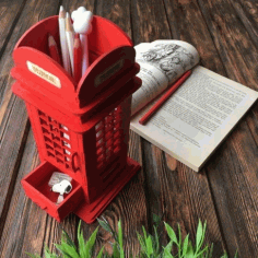 Laser Cut British Phone Booth Pencil Holder Free CDR Vectors Art