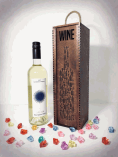 Laser Cut Wine Bottle Wooden Engraved Storage Case With Sliding Lid Free CDR Vectors Art