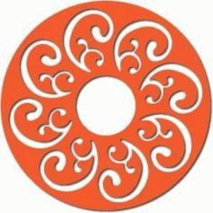 Scroll Motif Circle Free DXF File