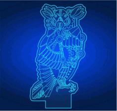 Owl 3d Illusion Lamp Cdr Free CDR Vectors Art