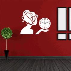 Laser Cut Clock With Girl Free CDR Vectors Art