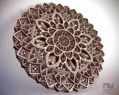 Laser Cut Decorative Circular Layered Mandala Free CDR Vectors Art