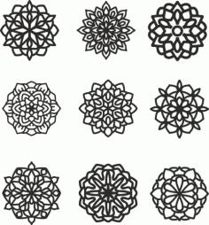 Mandala 9 Set Free CDR Vectors Art