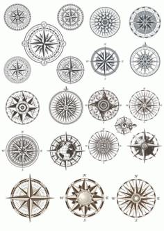 Laser Cut Compass Vectors Set Free CDR Vectors Art