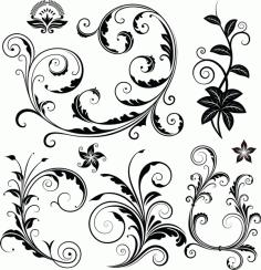 Decorative Floral Elements Free AI File
