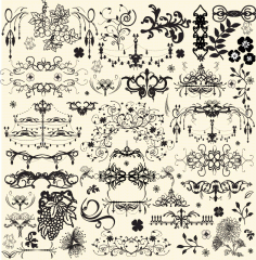 Seamless Floral Swirl Elements Free AI File