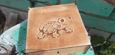 Laser Cut Box With Turtle Engraved 3mm Free CDR Vectors Art