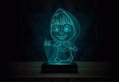 Laser Cut Masha And The Bear Acrylic 3d Lamp Free DXF File