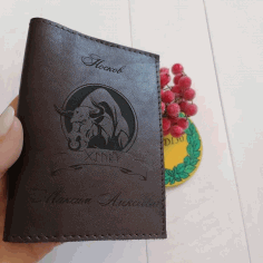 Laser Cut Bull For Engraving On Leather Wallet Free CDR Vectors Art
