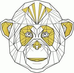 Laser Cut Polygonal Monkey Print Drawings Free CDR Vectors Art