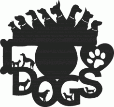 Laser Cut Dogs Lover Clock Free DXF File