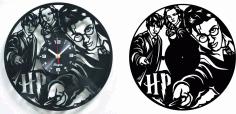 Laser Cut Harry Potter Vinyl Record Clock Pair Free DXF File