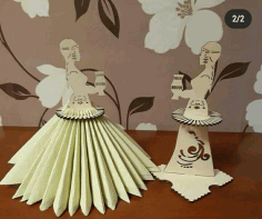 Laser Cut Napkin Holder Yakut Girl In National Costume Holding Sakha Choron Free CDR Vectors Art