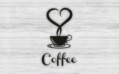 Laser Cut Coffee Cup With Heart Wall Art Decor Free CDR Vectors Art