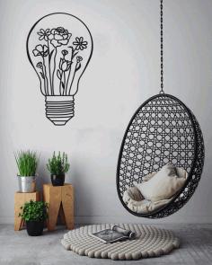 Light Bulb Metal Wall Art Minimalist Vintage Wire Sculpture Decor Free CDR Vectors Art