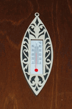 Laser Cut Wooden Wall Thermometer Cover Free CDR Vectors Art