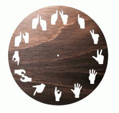 Laser Cut Hand Signs Wall Clock Free CDR Vectors Art