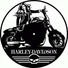 Laser Cut Harley Davidson Wall Clock Free CDR Vectors Art