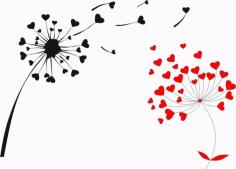 Heart Shape Oduvan Dandelion Print Free CDR Vectors Art