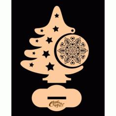 Laser Cut Tree With Ornament Free CDR Vectors Art