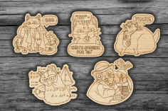 Laser Cut Badges Gifts Decor Tags Free CDR Vectors Art