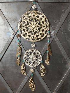Laser Cut Indian Amulet Dreamcatcher Layout Free CDR Vectors Art