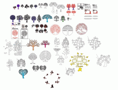 Laser Cut Tree Collection Layout Free CDR Vectors Art