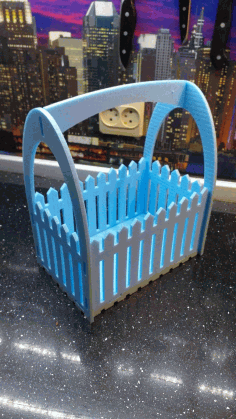 Laser Cut Flower Basket With Fence Free CDR Vectors Art