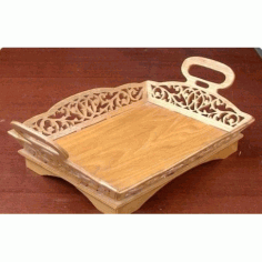 Laser Cut Decorative Tray With Handles Template Free CDR Vectors Art