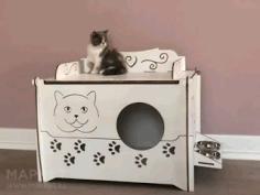 Laser Cut Cat House Design Free CDR Vectors Art