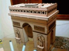 Laser Cut Arc De Triumph 3d Wooden Puzzle Model Kit Free CDR Vectors Art