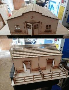 Laser Cut Horse Stable Barn Free CDR Vectors Art