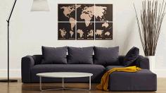 Laser Cut Engraved World Map On Cork Tiles Free CDR Vectors Art