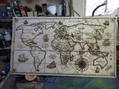 Laser Engraved World Map Free CDR Vectors Art