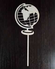 Laser Cut Globe Cake Topper Free CDR Vectors Art