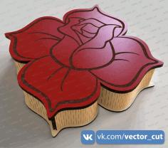 Laser Cut Rose Box 200x200x50mm Free CDR Vectors Art