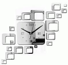 Laser Cut Modern Square Wall Clock Free CDR Vectors Art