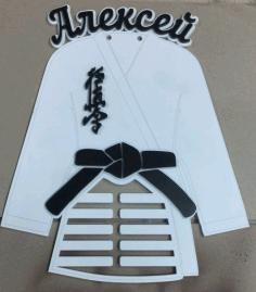 Laser Cut Black Belt Karate Martial Arts Medal Hanger Display Rack Free CDR Vectors Art