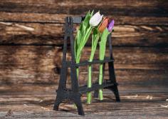 Laser Cut Eiffel Tower Flower Holder Free CDR Vectors Art