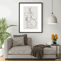 Family One Line Drawing Mother And Son Free CDR Vectors Art