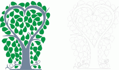 Laser Cut Tree Of Happiness Layout Free CDR Vectors Art