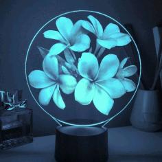 Laser Cut Flower Acrylic Led Lamp Free CDR Vectors Art