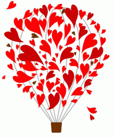 Balloon With Hearts Laser Cut Template Free CDR Vectors Art