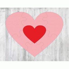 Laser Cut Heart Puzzle Template Free CDR Vectors Art