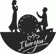 Laser Cut I Love You Clock Free DXF File