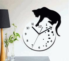 Laser Cut Cat Watch Layout Free DXF File
