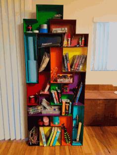 Laser Cut Tetris Modular Book Shelf Free DXF File