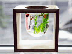 Laser Cut Aquarium In A Light Bulb 3mm Free DXF File