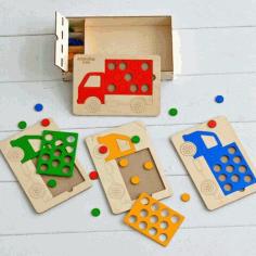 Laser Cut Shape Puzzles For Toddlers Truck Peg Puzzle Free CDR Vectors Art