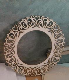 Laser Cut Round Mirror Frame Free CDR Vectors Art